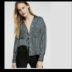Free People Striped Button Down Blouse